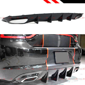 For 2015 2019 Dodge Charger Sxt Se Glossy Black Shark Fin Rear Bumper Diffuser