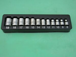 Snap On 212fsmy 12 Pc 6 Point Shallow 3 8 Dr Metric Socket Set 8mm 19mm W Tray