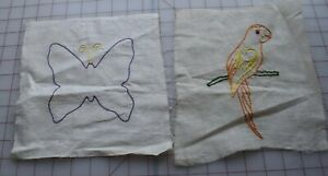 7554 2 Vintage 1920 S Embroidered Quilt Blocks Parrot Butterfly