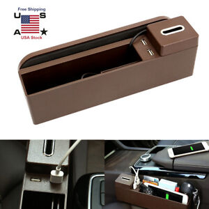 Car Seat Pockets Cup Holder Organizer Dual Usb Charger Storage Box Holder Brown