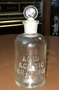 Vintage Wheaton Acid Acetic Ch3 Cooh Apothecary Chemical Lab Bottle