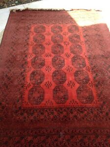 Aunthentic Handmade Rug Tribal Red Large With Fringe Intact No Odor Persian