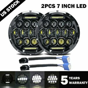 2x 7inch Round 280w Total Led Headlights Hi Lo For 97 17 Jeep Jk