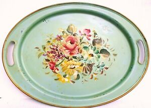 Vintage Cottage Green Blue Tole Painted Tray W Cabbage Rose Tree Peony 19 X 14