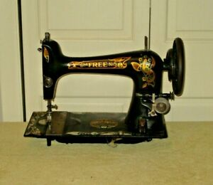 Antique The Free Treadle Sewing Machine Head 1913 19 Works