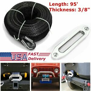 Us 3 8 X 95 20500lbs Synthetic Winch Line Cable Recovery Rope Atv Suv Utv