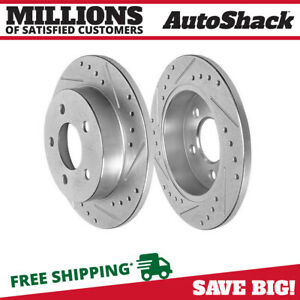 Rear Drilled Slotted Disc Brake Rotors Pair 2 For 1994 2004 Ford Mustang 5 0l V8