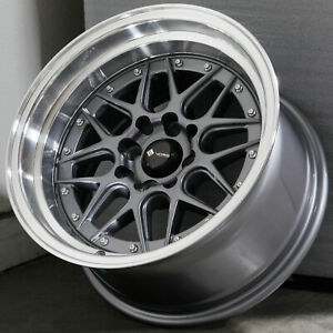 15x8 Gun Metal Wheels Vors Vr7 4x100 4x114 3 0 Set Of 4