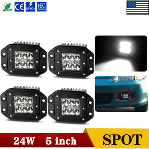 4x 5inch 96w Flush Mount Led Work Light Bar Offroad Pods Spot Beam Bumper Atv