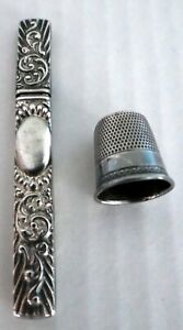 Antique Sterling Silver Repousse Needle Case And Thimble