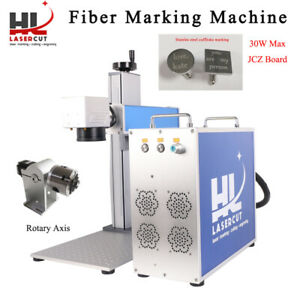 Fda ce 30w Fiber Laser Marking Machine Engraving Equipment For Metal With Rotary