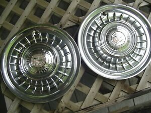 Two 1958 1959 Cadillac Cady Eldorado Fleetwood Hubcaps Wheel Covers Vintage