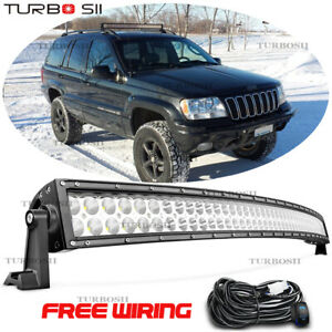 42inch Led Light Bar Curved Offroad Driving Lamp For 99 04 Grand Cherokee wj
