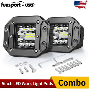 260w 5inch Flush Mount Led Work Light Bars Combo Beam Off Road Driving Atv Truck
