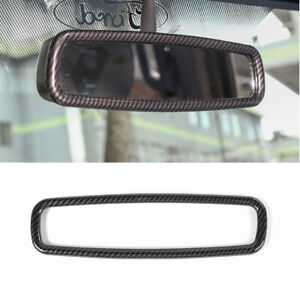 For Ford F150 Interior Rearview Mirror Trim Ring Cover 2009 2014 Carbon Fiber