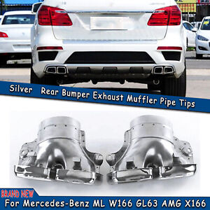 2pcs Exhaust Pipe Tips For Mercedes Benz Ml W166 Gl63 Amg X166 Stainless Steel