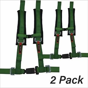Pair Of Green Four 4 Point Safety Belt Harnesses W Ez Automotive Style Buckle