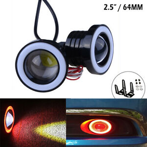 Pair Red 2 5 30w Car Halo Angel Eyes Rings Projector Cob Led Fog Light