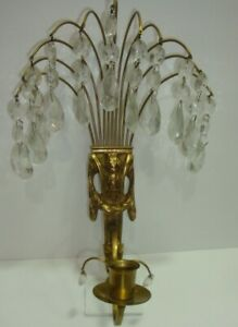 Regency Style Brass Wall Sconce With Crystal Drops Single Candle