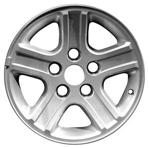 17x8 5 Spoke Alloy Wheel Take Off Sparkle Silver Textured W Machined Face 2265