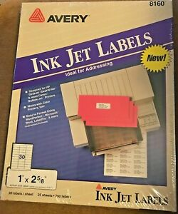 Avery 8160 Mailing Address Labels Inkjet 1 X 2 5 8 White 750 Labels In Box
