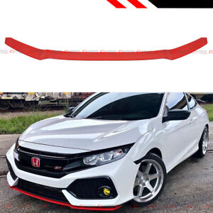 For 17 19 Civic Hatchback Si Red Hfp Style Front Bumper Lip Underbody Spoiler