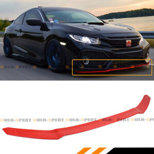 For 2017 2020 Civic Hatchback Si Glossy Red Hfp Style Front Bumper Lip Spoiler