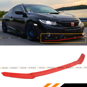 For 2017 2021 Civic Hatchback Si Glossy Red Hfp Style Front Bumper Lip Spoiler