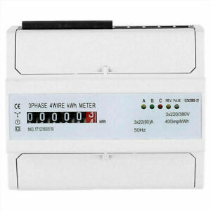 Digital Lcd 3x20 80 a Kwh Power Energy Meter 3 phase 4 wire Din Rail White