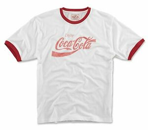 Red Jacket Coca Cola Men's Vintage Fade Ringer White/Red T-Shirt