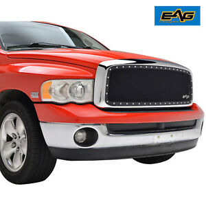 Eag Fits 02 05 Dodge Ram 1500 2500 Steel Wire Mesh Rivet Grill W chrome Shell