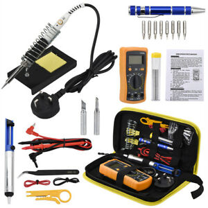 60w Soldering Iron Kit Adjustable Temperature With Helping Hand And Tool Case Us