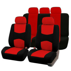 U S 9 Part Universal Car Seat Covers Front Rear Head Rests Full Set Auto Cover