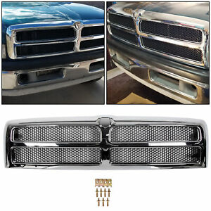 New Chrome Shell W black Insert Grille For Dodge Ram 1500 2500 3500 1994 2002