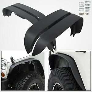 For 2007 2017 Jeep Wrangler Jk 4pc Textured Black Steel Flat Style Fender Flares