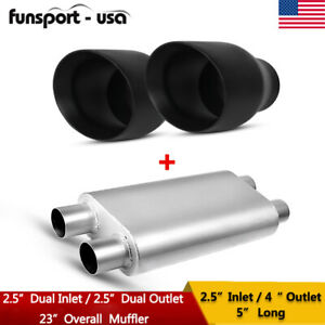2 5 Inlet 4 Outlet Exhaust Tips Dual 2 5 Inlet Dual 2 5 Outlet Racing Muffler