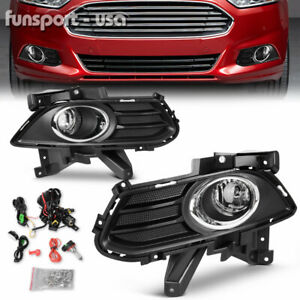 Pair Front Fog Lights Lamps Fit For Ford Fusion 2013 2016 Clear Bumper Foglights