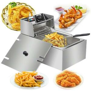 2500w 6l Electric Deep Fryer Stainless Steel Cooking Machine Commercial Basket