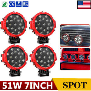 4pcs 7inch 51w Round Led Work Lights Spot Offroad Boat Atv Suv Truck Lamp Slim