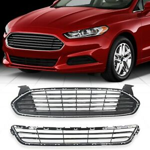 Upper Lower Front Radiator Grille Grill Kit For 2013 2016 Ford Fusion Mondeo