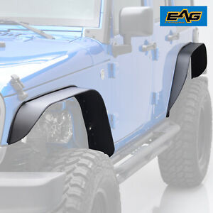 Eag Fit 07 18 Jeep Wrangler Jk Flat Stubby Front And Rear Steel Fender Flares