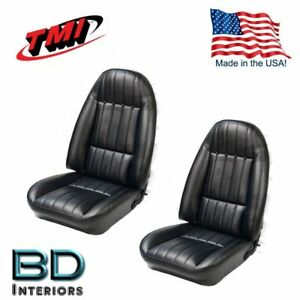 Front Bucket Seat Upholstery 1971 1977 Chevy Camaro Black Set Foam Padding