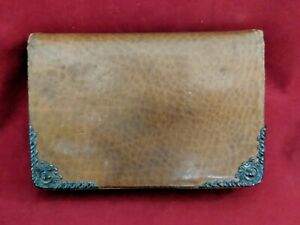Antique Victorian Era Leather Sterling Silver Wallet