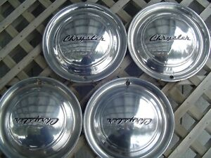 1949 49 Chrysler Windsor Sarstoga 4 Hubcaps Wheel Covers Antique Vintage Classic
