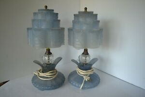 Antique Lalique Style Pair Of Art Deco Skyscraper Frosted Glass Table Lamps Blue