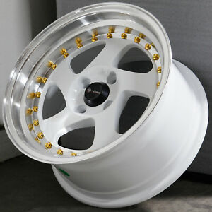 15x8 White Wheels Vors Vr2 4x100 20 Set Of 4