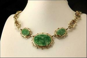 Vintage Chinese Green Jade Cabochon Gold Filled Necklace D118 08