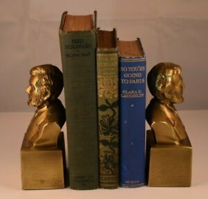 Set Of Mid Century Brass President Abraham Lincoln Bust Bookends Statue Figures