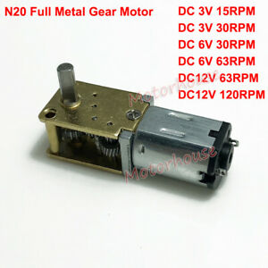 Dc3v 12v Mini Micro N20 Gear Motor Full Metal Gearbox Large Torque Diy Robot Car