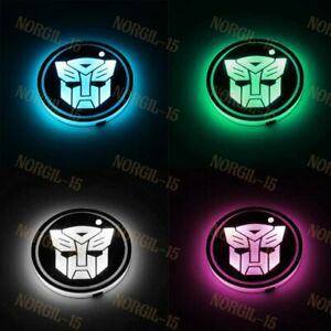 2x Led Light Car Cup Holder Pad Coaster For Transformer Autobot Atmosphere Light